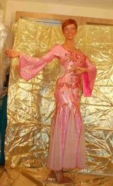 Roze jurk met godetinzetten