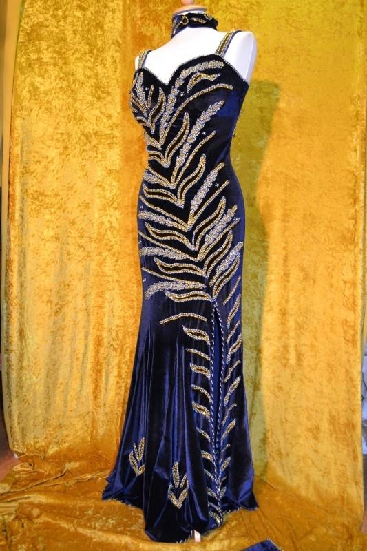 Blauw fluwelen jurk