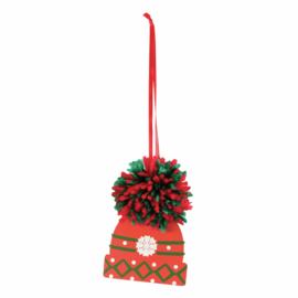 Pom Pom Kit Kerstmuts 7 x 10 cm