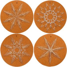 Kerstlabels Kraft rond om te borduren (8 stuks)