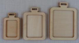 3 houten mini borduurhangers / lijstjes RECHTHOEK
