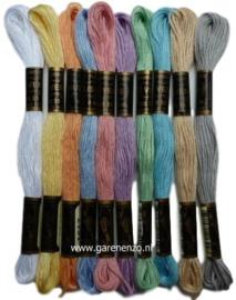 Set van 10 Pastel kleuren Venus borduurgaren