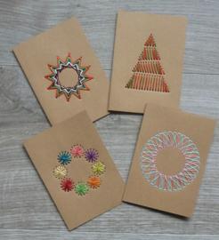 4 kaarten om te borduren KRAFT
