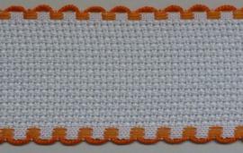 Aida borduurband Wit / Oranje 5 cm breed