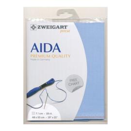 Aida 18 count Lichtblauw (503) - 48 x 53 cm van Zweigart