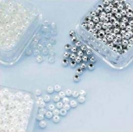 Parelkraaltjes rond 3mm  - wit-transparant-zilver