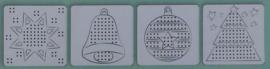 4 witte borduurkaarten KERST 10 x 10 cm