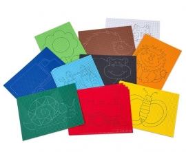 10 x Voorbedrukt gekleurd borduurkarton