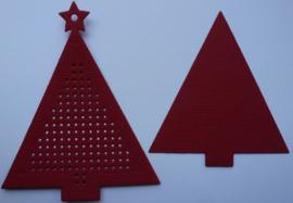 Kerstboom Rood met ster - afmeting 7.7 x 9.5