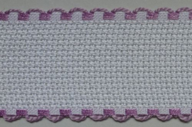 Aida borduurband Wit / Lila 5 cm breed