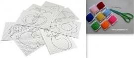 Borduurpakket met 8 x wit  borduurkarton