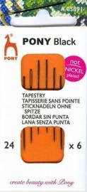 Pony Black borduurnaalden nikkelvrij nummer 24 ronde punt ( 6 stuks )