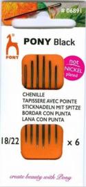 Pony Black borduurnaalden nikkelvrij nummer 18 / 22 scherpe punt ( 6 stuks )