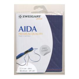Aida 18 count Donkerblauw (589) - 48 x 53 cm van Zweigart