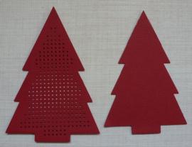 Kerstboom Rood 8.5 x 12 cm