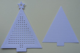 Kerstboom Wit met ster - afmeting 7.7 x 9.5