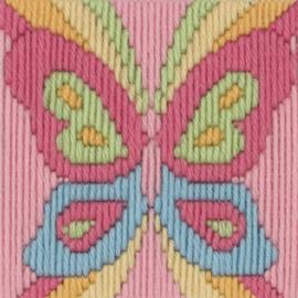VLINDER  borduurpakket 10 x 10 cm (Anchor) - Spansteek / Platsteek