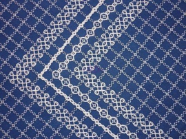 Beiersbont Middelblauw / Wit  - afmeting 100 x 80 cm