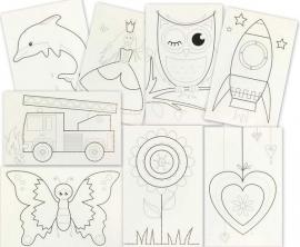 8 witte borduurkaarten
