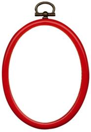 Kunststof Mini Borduurringetje ROOD - Ovaal 7,5 x 9,5 cm