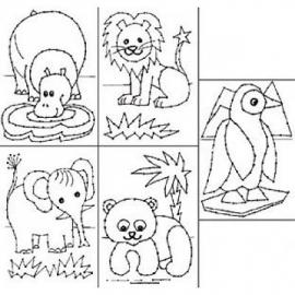 Borduurkaarten Wilde dieren - 5 stuks