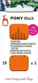 Pony Black borduurnaalden nikkelvrij nummer 28 ronde punt ( 5 stuks )