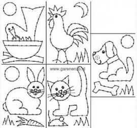 Borduurkaarten Dieren - 5 stuks