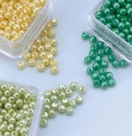 Parelkraaltjes rond 3 mm - geel-groen-l.groen