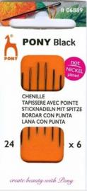 Pony Black borduurnaalden nikkelvrij nummer 24 scherpe punt ( 6 stuks )