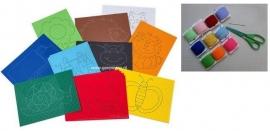 Borduurpakket met 10 x  gekleurd borduurkarton