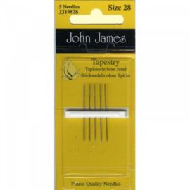 6 borduurnaalden John James nr. 28 (ronde punt)
