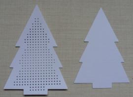 Kerstboom Wit 8,5 x 12 cm