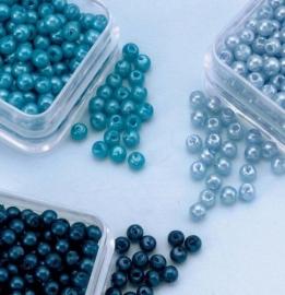 Parelkraaltjes rond 3 mm blauw-turkoois-l.blauw