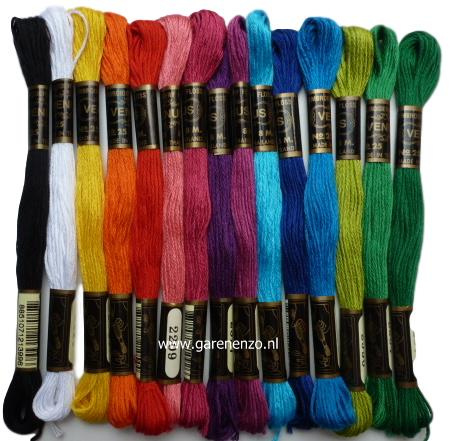 Set van 15 Felle kleuren Venus borduurgaren