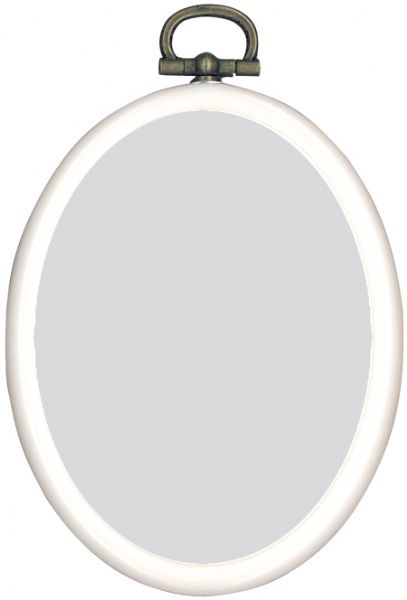 Kunststof Mini Borduurringetje WIT - Ovaal 7,5 x 9,5 cm