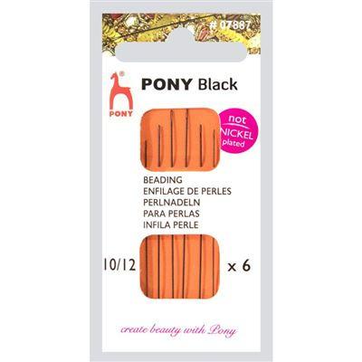 Pony Black kralennaalden nikkelvrij nummer 10 / 12  ( 6 stuks )