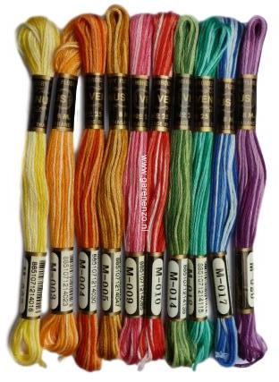 Set van 10 kleuren gemêleerd  Venus borduurgaren Bont