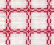 Beiersbont Wit / Rood  - afmeting 50 x 160 cm