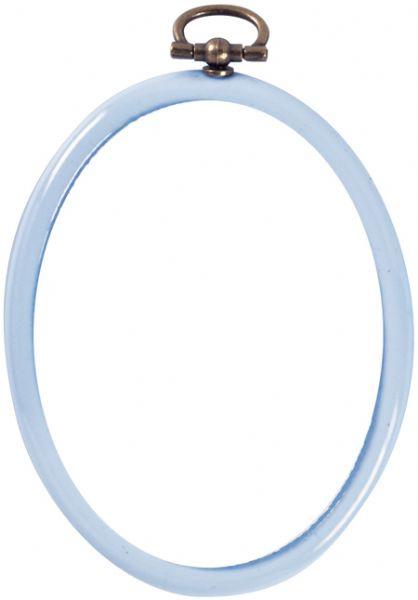 Kunststof Mini Borduurringetje LICHT BLAUW - Ovaal 7,5 x 9,5 cm