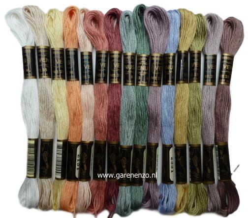 Set van 15 Zachte kleuren Venus borduurgaren