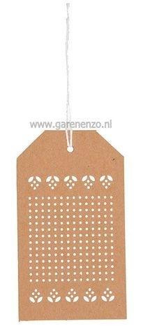 Label kraft om te borduren - Afmeting 6 x 10,5 cm