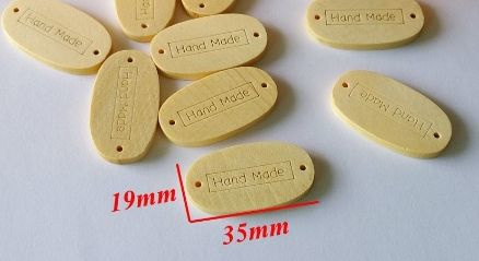 Handmade label blank hout large 19 x 35 mm