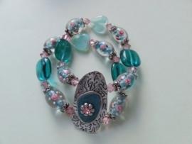 201262 Groen/roze armband