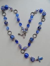 201358 Blauwe ketting lang (zelfmaakpakket)