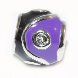 kraal paars met zwart met kristal kleurige steentjes