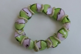 201269 Groen/roze armband