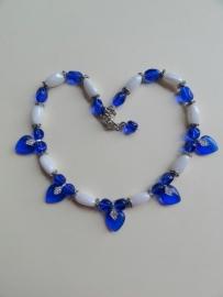 201315 Blauw/witte ketting (zelfmaakpakket)