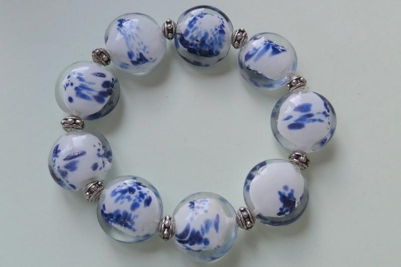 201259 Blauw/witte armband