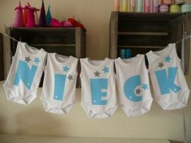 Geboorteslinger van rompers babyblauw