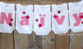 Geboorteslinger van rompers baby roze